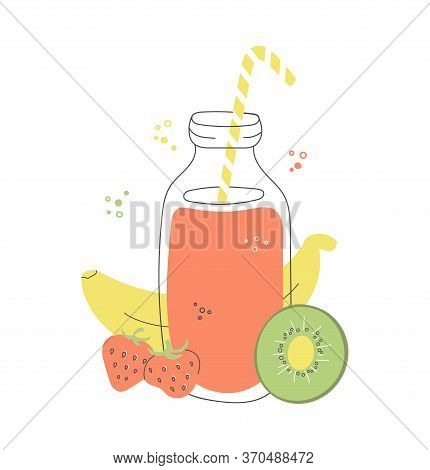 Fruity Smoothie In A Glass Bottle. Strawberry, Banana, And Kiwi Drink. Fresh Summer Beverage With Fr