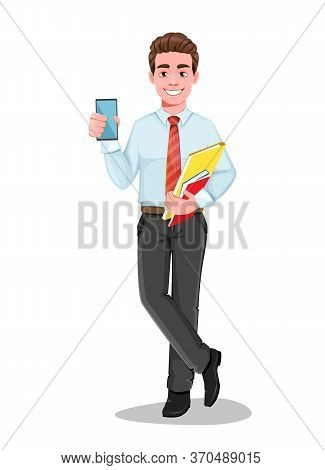 Successful Business Man Holding Smartphone. Handsome Businessman In Business Clothes. Cheerful Carto