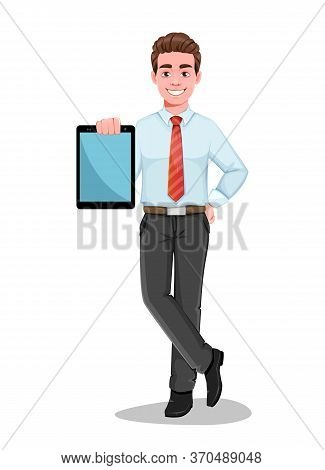 Successful Business Man Holding Modern Tablet. Handsome Businessman In Business Clothes. Cheerful Ca