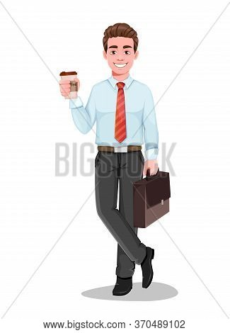 Successful Business Man With A Cup Of Coffee While Coffee Break. Handsome Businessman In Business Cl