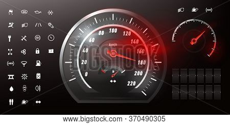 Realistic Car Speedometer. Dashboard With Sensors. Fuel Consumption Indicator, Speed Scale. Set Icon
