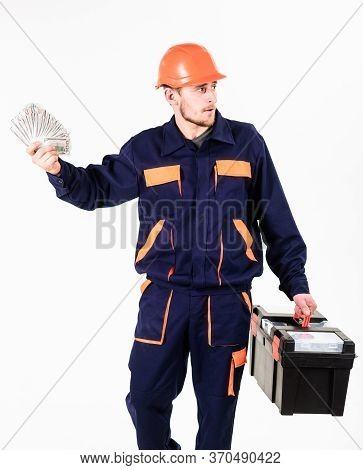 Payday Concept. Man With Toolbox Got Salary, Money For Work.
