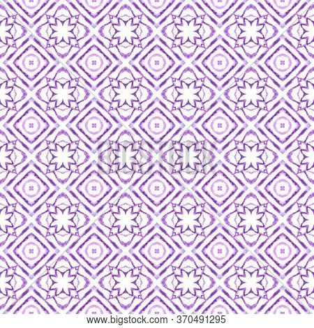 Chevron Watercolor Pattern. Purple Fetching Boho Chic Summer Design. Textile Ready Brilliant Print,