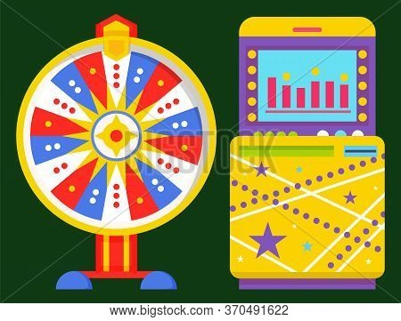 Fortune Wheel Vector Isolated Machinery, Scheme And Chart On Screen. Spinning Device With Stars And