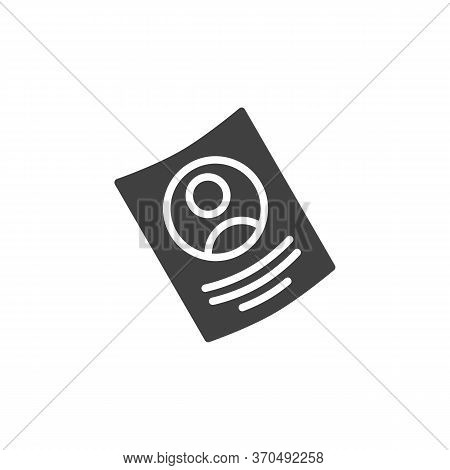 Curriculum Vitae Vector Icon. Filled Flat Sign For Mobile Concept And Web Design. Resume Cv Glyph Ic
