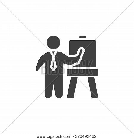 Business Presentation Vector Icon. Filled Flat Sign For Mobile Concept And Web Design. Business Man
