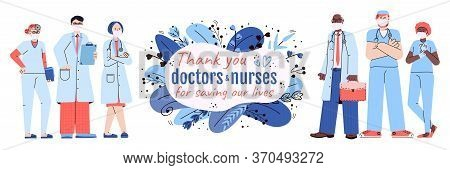 Thank You Doctors And Nurses Banner Cartoon Vector Illustration On White Background. Thankfulness To