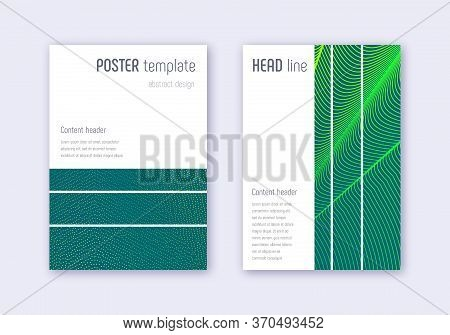Geometric Cover Design Template Set. Green Abstract Lines On Dark Background. Beautiful Cover Design