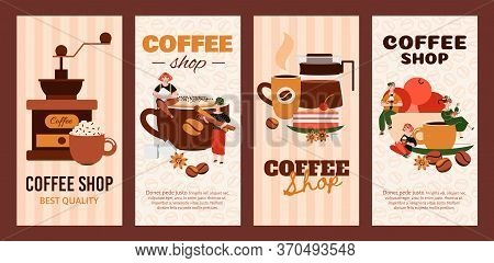 Coffee Shop Vertical Banner Set With Cafe Drink Making Equipment And People Sitting On Giant Cups Se