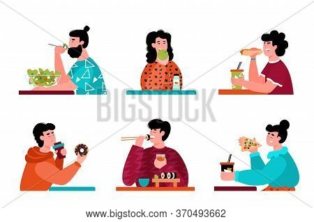 Cartoon People Eating - Isolated Set Of Men And Women With Different Nutrition Diets Eating Junk Fas