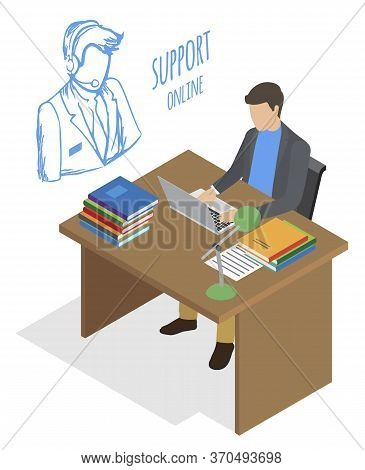 Businessman In Suit Working On Laptop At Office. Online Support, Guy Talking Using Headphones And Mi