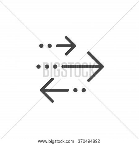 Thin Outline Transactions Icon. Such A Line Sign As Transaction And Exchange Or Transfer, Arrows Lef