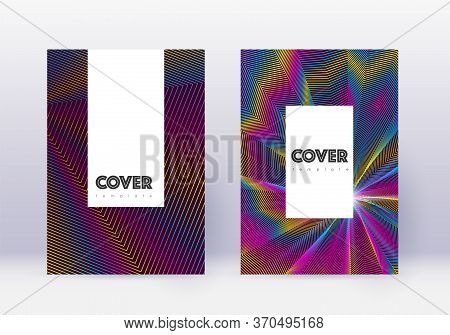 Hipster Cover Design Template Set. Rainbow Abstract Lines On Wine Red Background. Classy Cover Desig