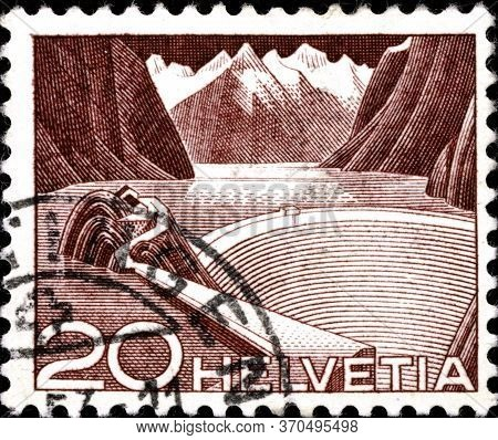 02.09.2020 Divnoe Stavropol Territory Russia The Postage Stamp Switzerland 1949 Engineering Waterwor