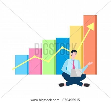 Businessman Sitting With Laptop Vector, Working Man With Infochart And Growing Arrowhead, Person Wit