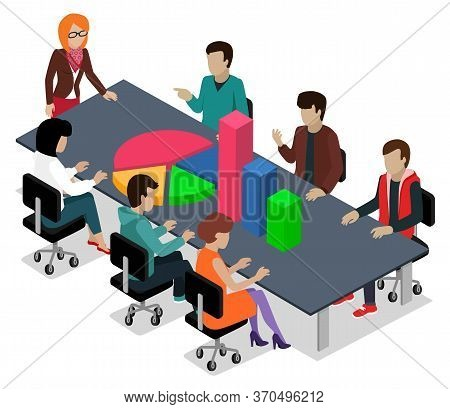 People Analyzing Data At Conference. Isolated Characters At Meeting With Boss, Brainstorming Entrepr