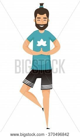 Man In Yoga Pose Isolated On White. Vector Male Person On Fitness, Balancing Guy On Workout, One Leg