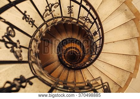 Budapest, Hungary - July 23, 2019 - Spiral Stone Staircase In Basilica Of St. Stephen In Budapest, H