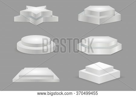 White Podiums. Round And Square 3d Empty Podium With Steps. Round And Square Empty Stages. Illustrat