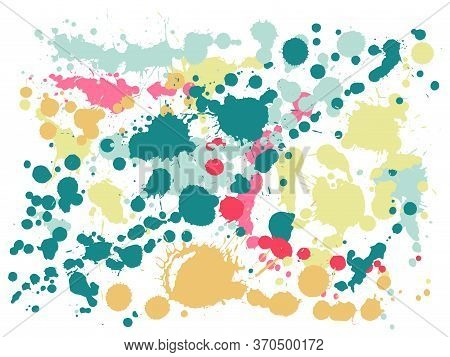 Gouache Paint Stains Grunge Background Vector. Modern Ink Splatter, Spray Blots, Dirty Spot Elements