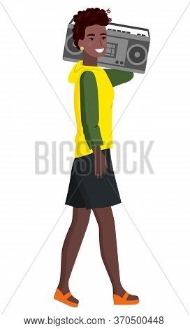 Teenager Wearing Stylish Clothes Vector, Isolated Character Flat Style Lady Walking In Direction. Af