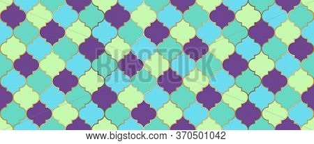 Eid Mubarak Islam Decoration. Ramadan Kareem Islamic Illustration. Moroccan Seamless Mosaic Texture.