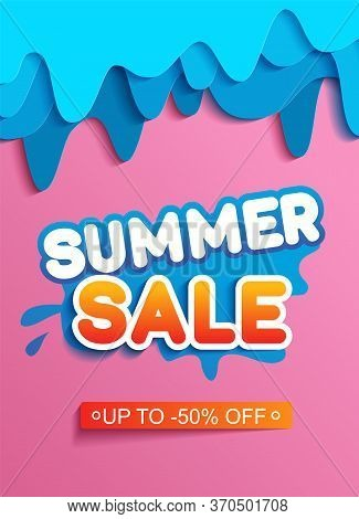 Summer Sale Banner With Paper Cut With Blue Paper Cut Shapes, Design For Banner, Flyer, Invitation,