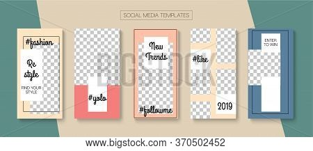 Social Stories Cool Vector Layout. Hipster Sale, New Arrivals Story Layout. Online Shop Polygon Invi