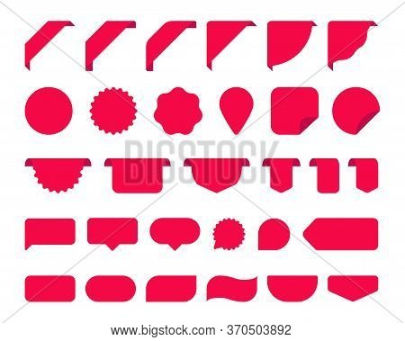 Big Set With Red Stickers For Tags, New Labels And Banners Vector Sticker Icons Templates On White B