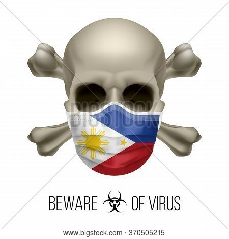Human Skull With Crossbones And Surgical Mask In The Color Of National Flag Philippines. Mask In For
