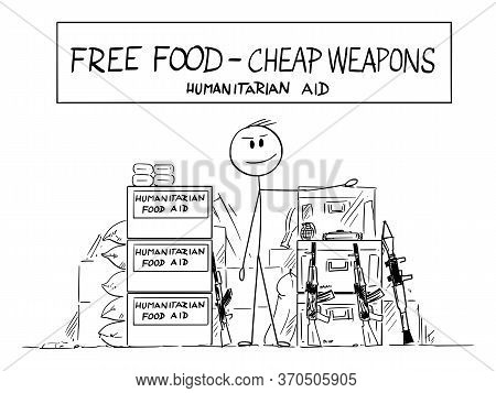 Vector Cartoon Stick Figure Drawing Conceptual Illustration Of Local Farmer Selling Humanitarian Aid
