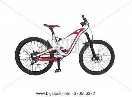 Full Suspension Bicycle For Downhill Riding. Extreme Mountain Bike Isolated On White Background