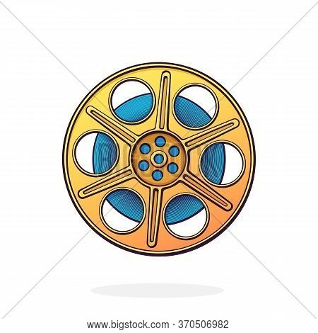 Front View Film Stock. Retro Cinema Strip. Vintage Camera Reel. Movie Industry. Retro Storage Of Ana