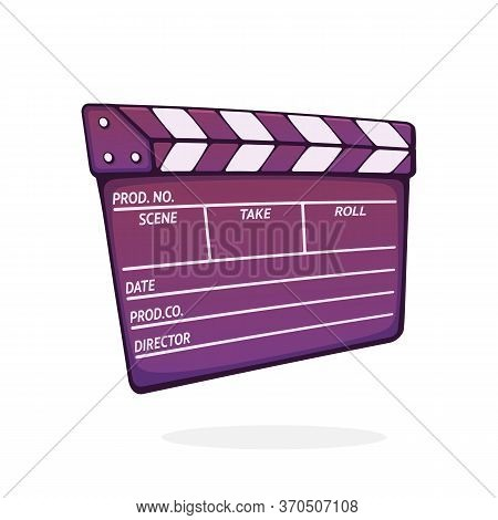 Closed Clapperboard Used In Cinema When Shooting A Film. Symbol Of The Movie Industry. Symbol Of The