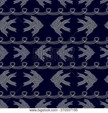 Abstract White Thai Carp Fish Weave Or Japanese Origami Style Isolated On Dark Blue Bacground, Vecto