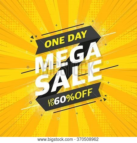 Gray Sale Banner Template Design On Yellow Abstract Background. Beautiful Design. Mega Sale Special