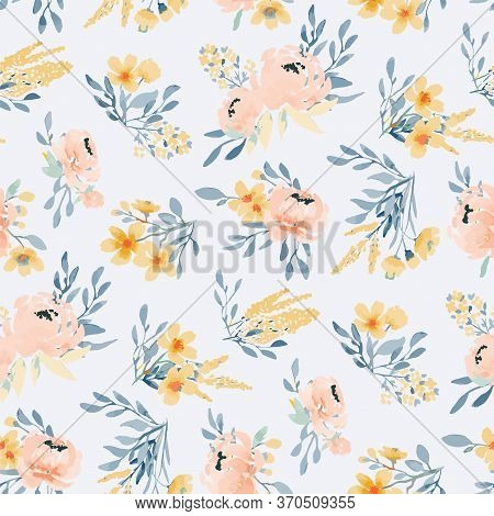 Light Seamless Pattern With Peonies Made In The Style Of Watercolor Painting. Large Bouquets With Pe