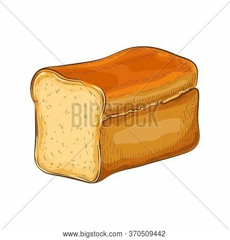 Wheat Bread Isolated On White. Hand Drawn Traditional White Square Loaf Doodle Icon. Fresh Baked Sli