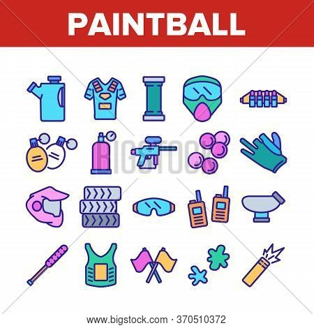 Paintball Game Tool Collection Icons Set Vector. Paintball Sport Equipment, Paint Ball Marker, Unifo