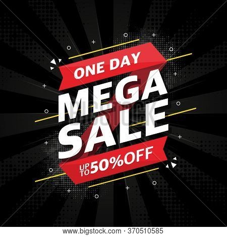 Red Sale Banner Template Design On Black Abstract Background. Mega Sale Special Offer. Upto 50 Perce