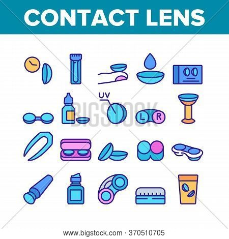 Contact Lens Accessory For Vision Icons Set Vector. Contact Lens Package And In Glass With Liquid, B