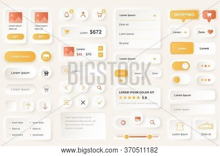User Interface Elements For Shopping Mobile App. Shopping Platform Navigation, Product Rating And Pr