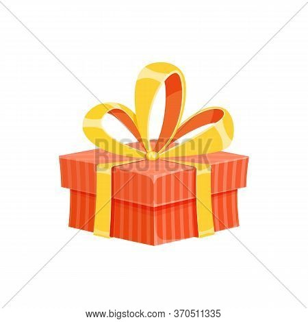Surprise Gift Box Or Birthday Present Cartoon Vector Illustration. Colorful Flat Square Giftbox With
