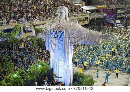 Rio, Brazil - February 24, 2020: Parade Of The Samba School Unidos Da Tijuca, At The Marques De Sapu