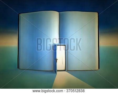 Clean sheet. Clean book with opened door. 3D rendering