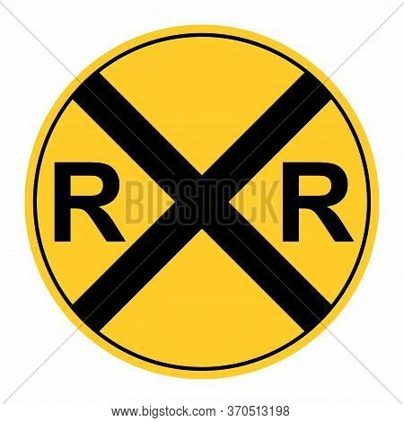 Rail Road Crossing Sign Isolated On White Background