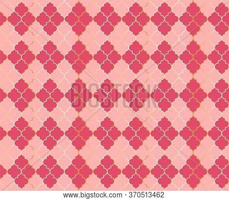 Pakistani Mosque Vector Seamless Pattern. Argyle Rhombus Muslim Fabric Background. Traditional Mosqu