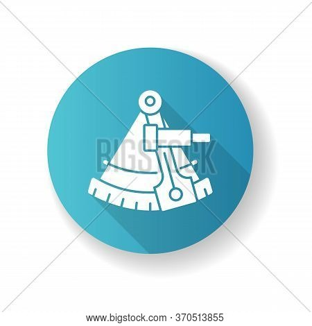 Sextant Blue Flat Design Long Shadow Glyph Icon. Celestial Navigation, Geography. Old Fashioned Inst