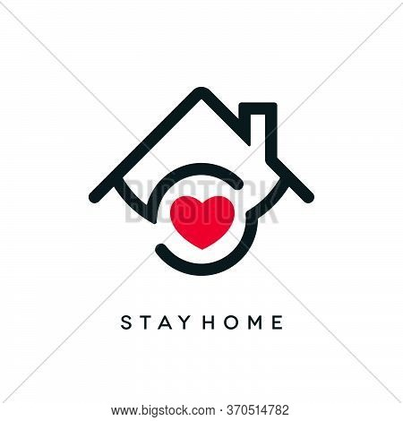 Stay Home Covid-19 Outbreak Concept Design. Coronavirus Pandemic Social Isolation Icon With Heart Sh