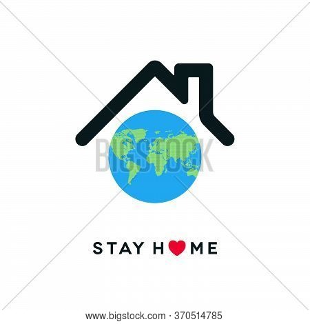 Coronavirus Covid-19 Pandemic Social Isolation Concept Design. Stay Home Icon With Globe World Map O
